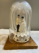 60s Vintage Wedding Topper With Glass Dome Display Case