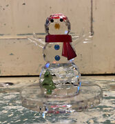 Partylite Sparkle Lite Crystal Snowman Tealight Candle Holder Rare Retired P9203