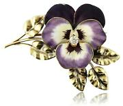 Antique A.j. Hedges 14k Gold Enamel Diamond Pansy With Leaves Large Brooch