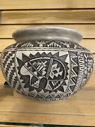 Large Clay Grey Bear Design Vase Native American Hand Crafted Pottery