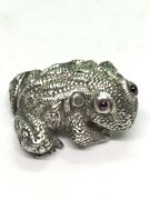 Antique Style Russian Solid Silver Frog Toad Figure With Ruby Eyes Marked Ip 88