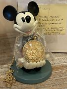 Rare Vintage Walt Disney Mickey Mouse Gloved Hands Holding Gold Pocket Watch Mib