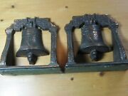 Antique Vtg Pair Heavy Brass Cast Iron Liberty Bells Book Ends Early1900's 3 4