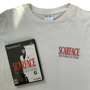 Vintage Y2k Scarface The World Is Yours Ps2 Video Game Promotional T Shirt Sz L