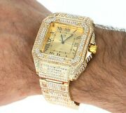 Menand039s Iced Lab Diamond Luxury Bezel And Band Hip Hop Gp Montres Carlo Watch