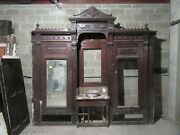 Antique Carved Walnut Closet Front Built In Armoire Butlers Pantry 122 X 115