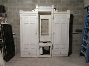 Antique Carved Walnut Closet Front Built In Armoire Butlers Pantry 98 X 105