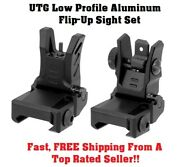 Utg Flip-up Front And Rear Sight Set Low Profile Aluminum Buis Back Up Iron Sights