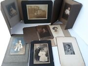Victorian-edwardian Era Cabinet Card Photos Most W/booklet Covers Lot Of 9 Craft