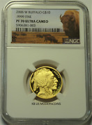 2008-w 10 Proof American Gold Buffalo 1/4 Oz. Ngc Pf70 Ultra Cameo