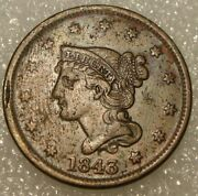 1843 Braided Hair Large Cent Vf-xf Details