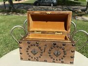 Vintage Antique Estate Spanish Leather Studded Jewelry Box With Keys