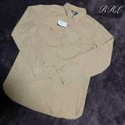 Rrl Casual Button-down Shirt Baby Cotton Beige Earth Color M Size