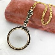 Victorian Style Magnifying Glass Necklace Pendant Gold Tone Metal Chain