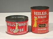 Lot Of 2 Different Vintage Hills Bros Coffee Tin Cans 1lb
