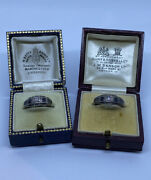 Antique/vintage 'his And Hers' Sterling Silver Opal And Sapphire Rings Free Sizing