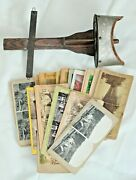 Old Antique Hand Held Wood Stereoviewer W/ 22 Assorted Stereoview Cards