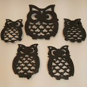 Vintage 1970s Cast Iron Black Owl Trivets Set Of 5 Rubber Footed 1 Large 4 Small