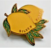 Fattorini And Sons Silver Shred Badge Pin Two Lemons 2.5cm Wide