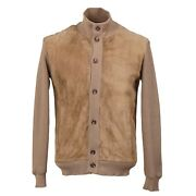 Cesare Attolini Knit Bomber Jacket With Lamb Suede Front M Eu 50 Nwt 3995
