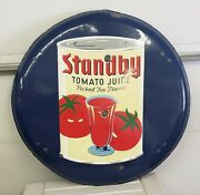 1930and039s Standby Tomato Juice 36 Round Porcelain Button Sign