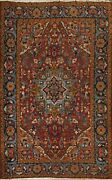 Antique Vegetable Dye Heriz Serapi Geometric Area Rug Hand-knotted 7and039x10and039 Carpet