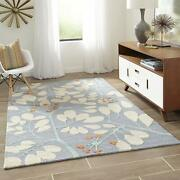 Hand Made Wool Area Rugs Sky Blue No Sheddings For Luxury Home Decor