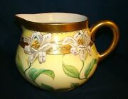 Avenir Limoges Hand Painted Easter Lily Pitcher Jug