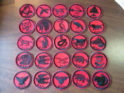 Red And Black Glue Back Patrol Medallions Lot Of 50 Cov11 2