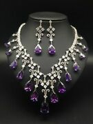 Natural Rose Cut Diamond Amethyst Wedding Party Wear Necklace Set Jewelry