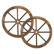 Set Of 2 24and039and039 Decorative Vintage Wood Wagon Wheel Wall Decoration Garden Yard