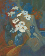 Barbara Doyle B.1917 - Contemporary Oil, Floral Still Life With Drapery