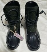 Seven7 Womenand039s Dark Green Black Wool Goose Boots S/3760 Size 10/11