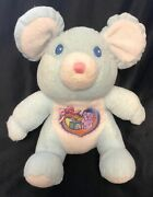 Vintage Tb Trading Blue Mouse Rattle Plush Heart Blocks Teddy Terry Stuffed Baby