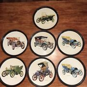 Vintage Litho Tin Bar Serving Trays With Pictures Of Antique Cars. Set Of 7.