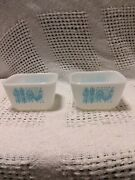 2 Pyrex Turquoise Amish Rooster Refrigerator Containers 1 1/2 Cup 501