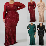 Plus Size Women Sequins Sheer Long Sleeve Evening Gown Bodycon Maxi Party Dress