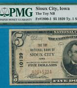 5.00 T-i 1929 The Toy National Bank Of Sioux City Iowa Pmg Vf20 .charter 10139