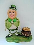 Vtg Bethany Lowe St. Patrickand039s Day Leprechaun Pot Of Gold Tabletop Figure As Is