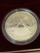 1988 Us Mint Olympic Coins Proof Silver Dollarset Of 2 W/box And Coa