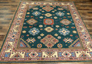 8and039x10and039 New Caucasian Fine Pakistani Kazak Hand Knotted Wool Oriental Green Rug
