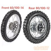 Off Road Front 60/100-14 And Rear 80/100-12 Motocross Tyre Rim Wheel Combo