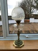 Ornate Cast Brass Oil Lamp With Glass Font And Etched Shade