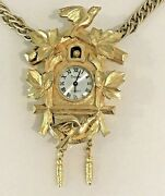 Vintage Trifari Cuckoo Clock Necklace Signed 1960s Birds Birdhouse Chain Rare