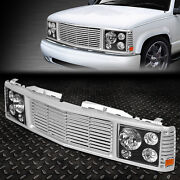 For 94-00 Chevy Gmc C/k 1500-3500 Black Headlight+silver Rover Grille Conversion