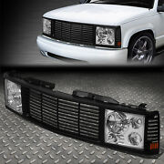 For 94-00 Chevy Gmc C/k 1500-3500 Chrome Headlight+black Rover Grille Conversion