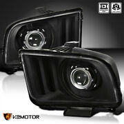 Fits Black 2005-2009 Ford Mustang Retro Style Projector Headlights Head Lamps