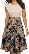 Yathon Womenand039s Vintage Ruffle Floral Flared A Line Swing Casual Cocktail Party D