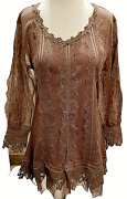 Pretty Angel Long Sheer Sleeve Tunic Womenand039s Lace Brown Vintage Nwt Smlgxl
