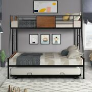 Twin Over Full Metal Bunk Bed With Trundle Andtwo-side Ladders Space-saving Design